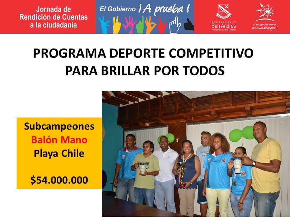 Subcampeones Balón Mano Playa Chile $54.000.000 PROGRAMA DEPORTE COMPETITIVO PARA BRILLAR POR TODOS