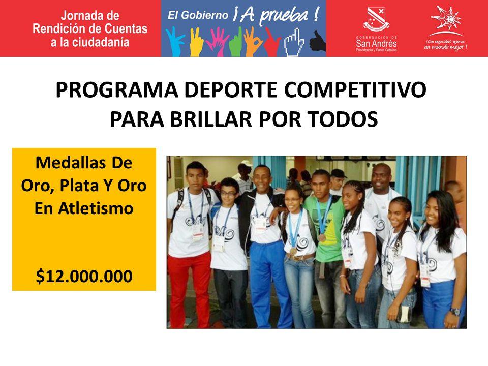 Medallas De Oro, Plata Y Oro En Atletismo $12.000.000 PROGRAMA DEPORTE COMPETITIVO PARA BRILLAR POR TODOS
