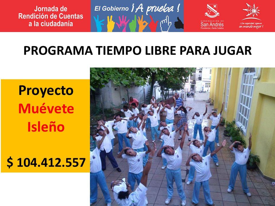Proyecto Muévete Isleño $ 104.412.557 PROGRAMA TIEMPO LIBRE PARA JUGAR