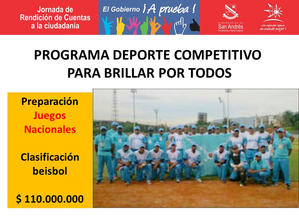 Preparación Juegos Nacionales Clasificación beisbol $ 110.000.000 PROGRAMA DEPORTE COMPETITIVO PARA BRILLAR POR TODOS