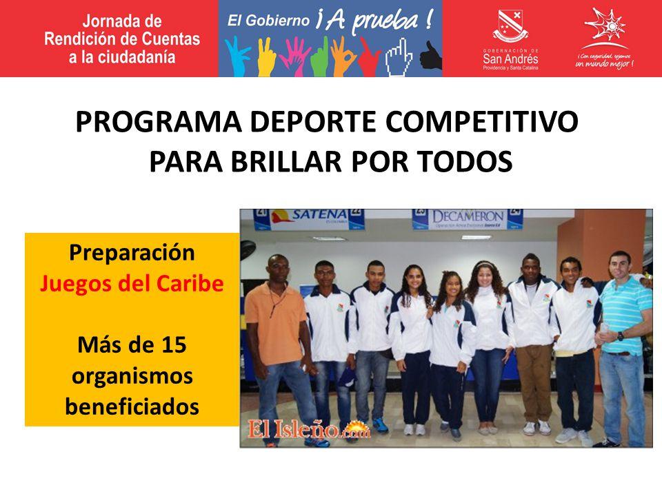 Preparación Juegos del Caribe Más de 15 organismos beneficiados PROGRAMA DEPORTE COMPETITIVO PARA BRILLAR POR TODOS