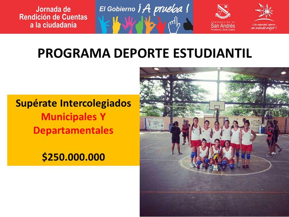 Supérate Intercolegiados Municipales Y Departamentales $250.000.000 PROGRAMA DEPORTE ESTUDIANTIL