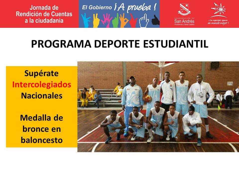 Supérate Intercolegiados Nacionales Medalla de bronce en baloncesto PROGRAMA DEPORTE ESTUDIANTIL