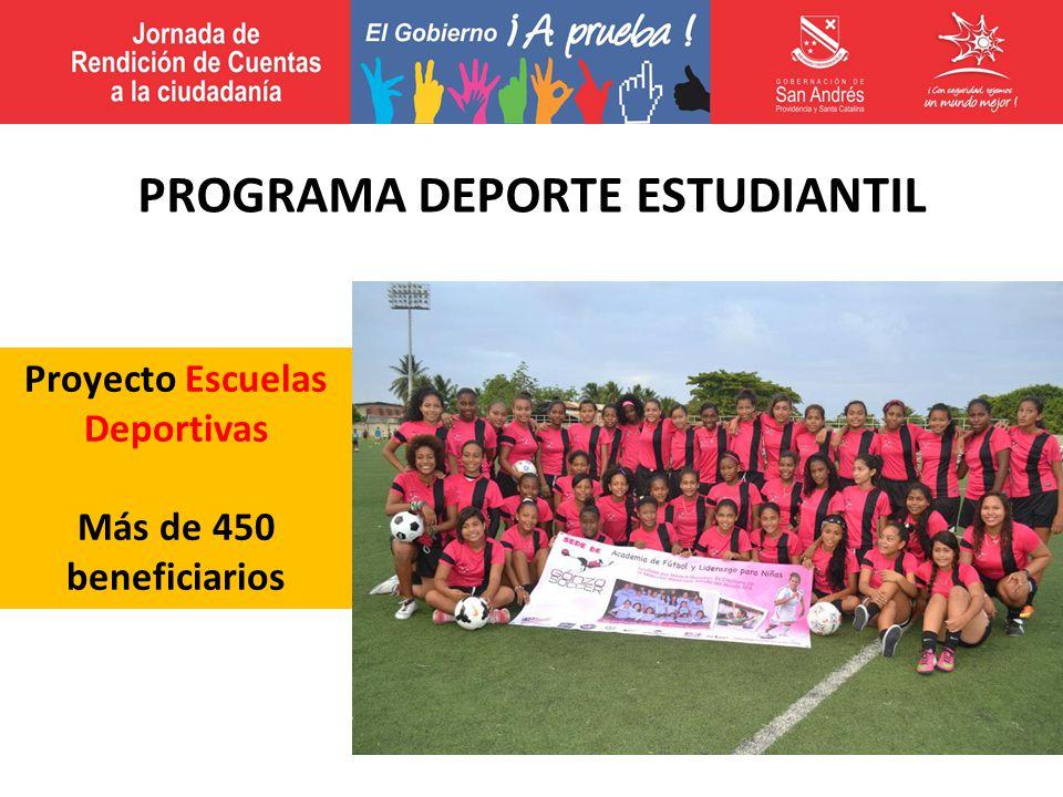 Proyecto Escuelas Deportivas Más de 450 beneficiarios PROGRAMA DEPORTE ESTUDIANTIL