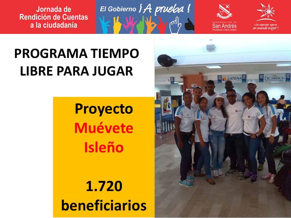 Proyecto Muévete Isleño 1.720 beneficiarios PROGRAMA TIEMPO LIBRE PARA JUGAR