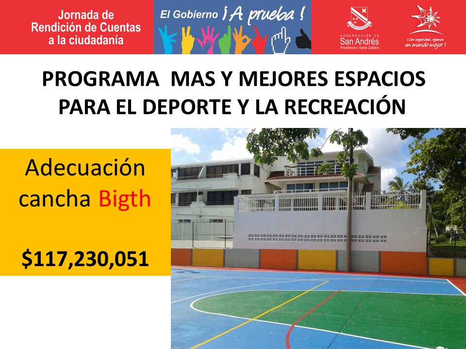 Adecuación cancha Bigth $117,230,051 PROGRAMA MAS Y MEJORES ESPACIOS PARA EL DEPORTE Y LA RECREACIÓN