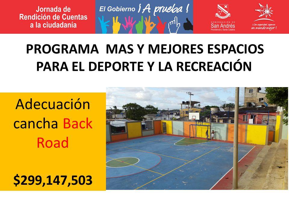 Adecuación cancha Back Road $299,147,503 PROGRAMA MAS Y MEJORES ESPACIOS PARA EL DEPORTE Y LA RECREACIÓN