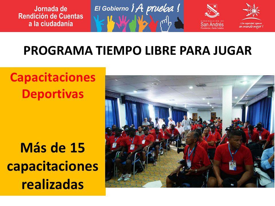 Capacitaciones Deportivas Más de 15 capacitaciones realizadas PROGRAMA TIEMPO LIBRE PARA JUGAR