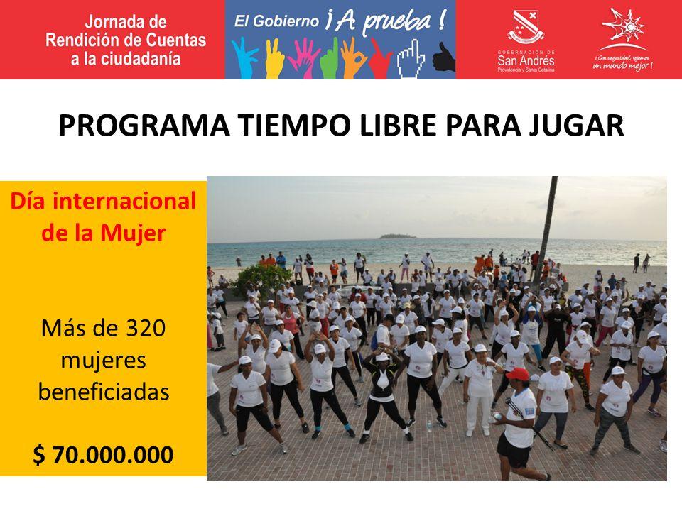 Día internacional de la Mujer Más de 320 mujeres beneficiadas $ 70.000.000 PROGRAMA TIEMPO LIBRE PARA JUGAR