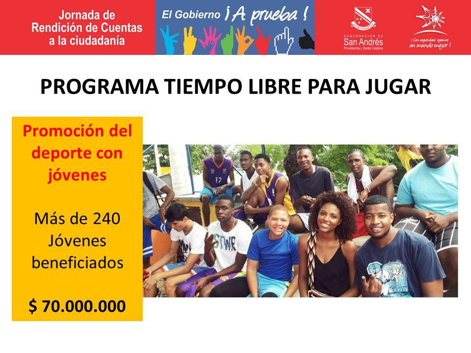 Promoción del deporte con jóvenes Más de 240 Jóvenes beneficiados $ 70.000.000 PROGRAMA TIEMPO LIBRE PARA JUGAR