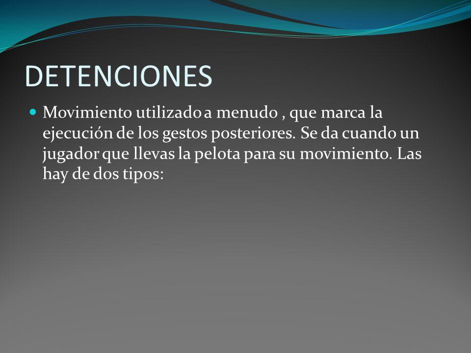 DETENCIONES Movimiento utilizado a menudo, que marca la ejecución de los gestos posteriores. Se da cuando un jugador que llevas la pelota para su movi