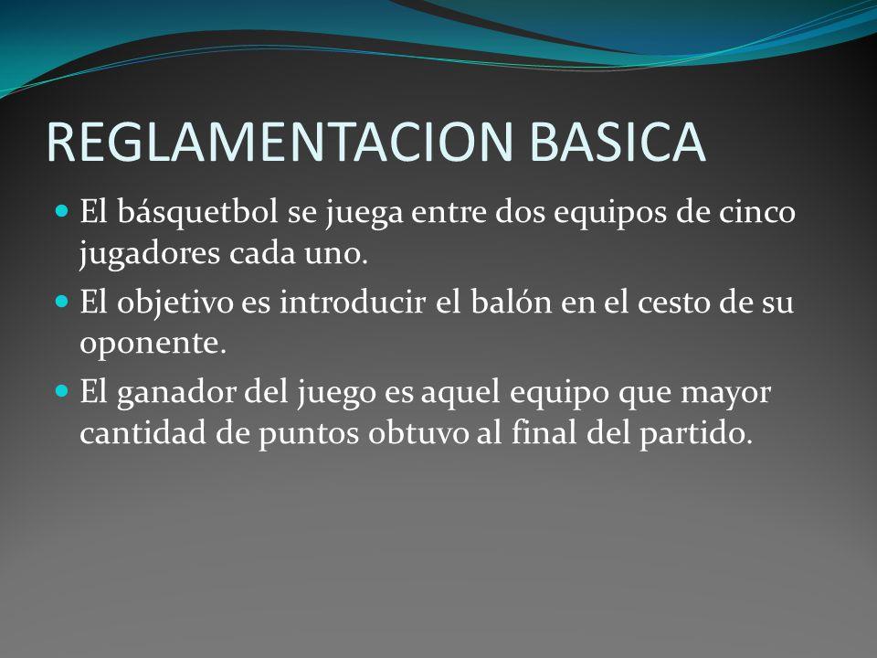 REGLAMENTACION BASICA El básquetbol se juega entre dos equipos de cinco jugadores cada uno. El objetivo es introducir el balón en el cesto de su opone