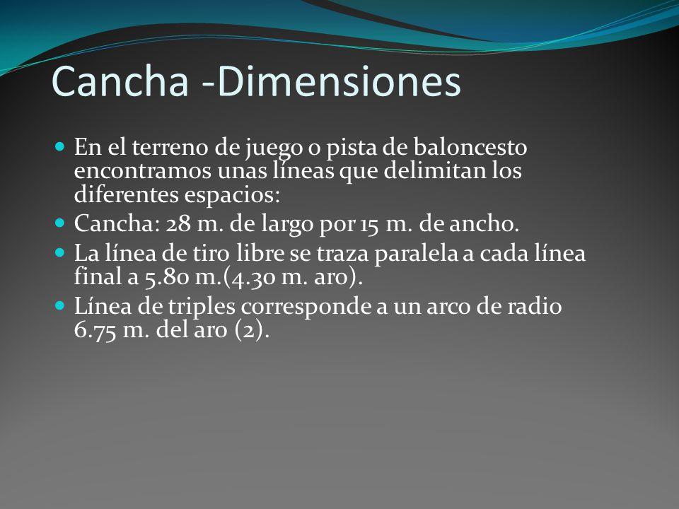 Cancha -Dimensiones En el terreno de juego o pista de baloncesto encontramos unas líneas que delimitan los diferentes espacios: Cancha: 28 m. de largo