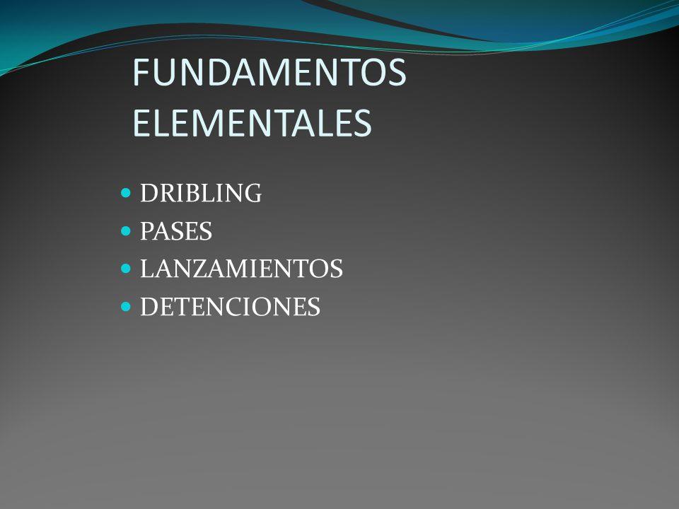 FUNDAMENTOS ELEMENTALES DRIBLING PASES LANZAMIENTOS DETENCIONES
