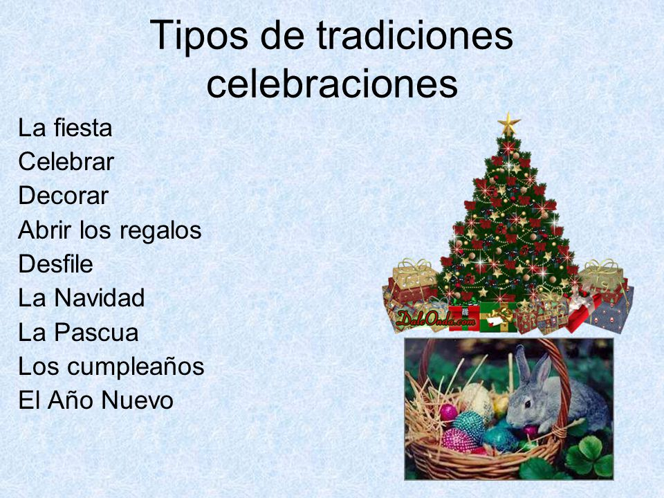 Tipos de tradiciones celebraciones La fiesta Celebrar Decorar Abrir los regalos Desfile La Navidad La Pascua Los cumpleaños El Año Nuevo