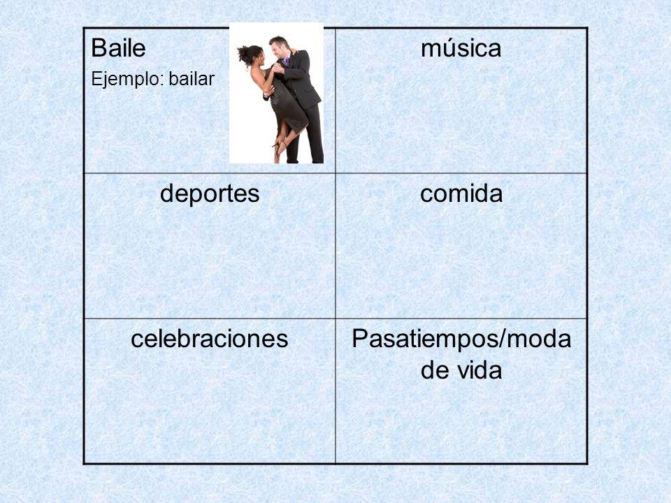 Baile Ejemplo: bailar música deportescomida celebracionesPasatiempos/moda de vida