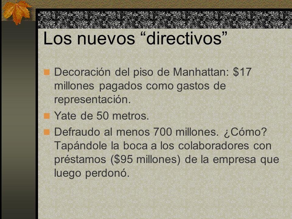 Los nuevos directivos Decoración del piso de Manhattan: $17 millones pagados como gastos de representación.
