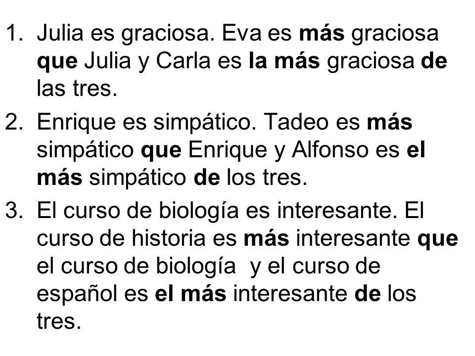 1.Julia es graciosa. Eva es más graciosa que Julia y Carla es la más graciosa de las tres.