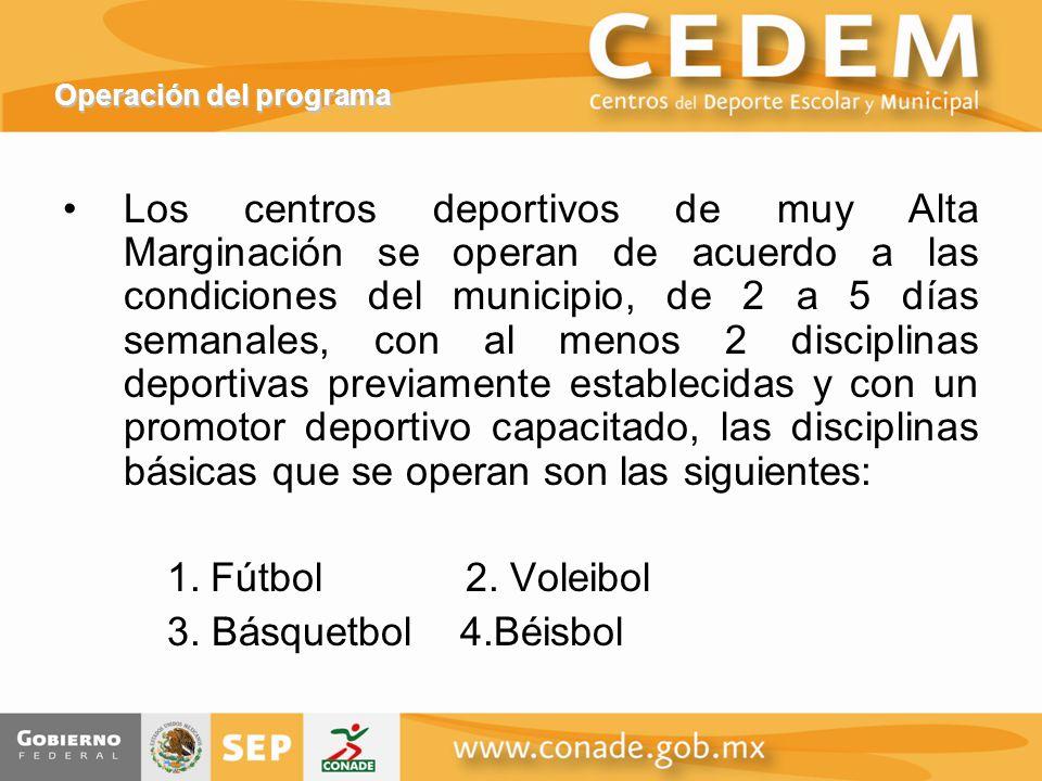 Operación del programa Los centros deportivos de muy Alta Marginación se operan de acuerdo a las condiciones del municipio, de 2 a 5 días semanales, con al menos 2 disciplinas deportivas previamente establecidas y con un promotor deportivo capacitado, las disciplinas básicas que se operan son las siguientes: 1.Fútbol 2.