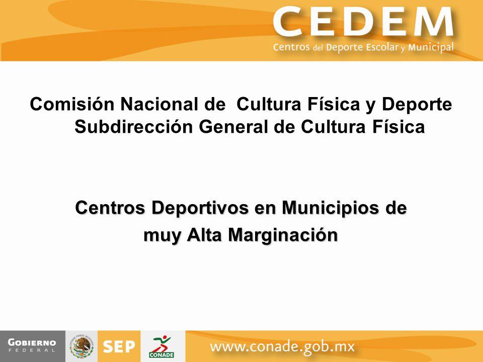 Comisión Nacional de Cultura Física y Deporte Subdirección General de Cultura Física Centros Deportivos en Municipios de muy Alta Marginación