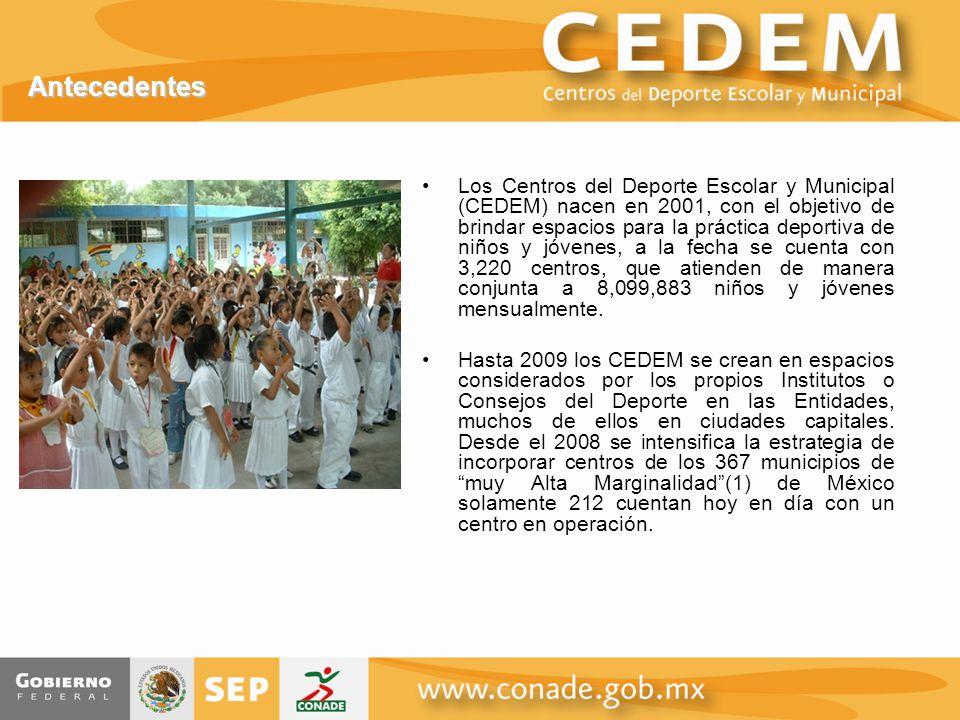 Antecedentes Los Centros del Deporte Escolar y Municipal (CEDEM) nacen en 2001, con el objetivo de brindar espacios para la práctica deportiva de niños y jóvenes, a la fecha se cuenta con 3,220 centros, que atienden de manera conjunta a 8,099,883 niños y jóvenes mensualmente.