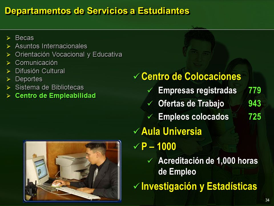  Becas  Asuntos Internacionales  Orientación Vocacional y Educativa  Comunicación  Difusión Cultural  Deportes  Sistema de Bibliotecas  Centro de Empleabilidad Departamentos de Servicios a Estudiantes Centro de Colocaciones Centro de Colocaciones Empresas registradas779 Empresas registradas779 Ofertas de Trabajo943 Ofertas de Trabajo943 Empleos colocados725 Empleos colocados725 Aula Universia Aula Universia P – 1000 P – 1000 Acreditación de 1,000 horas de Empleo Acreditación de 1,000 horas de Empleo Investigación y Estadísticas Investigación y Estadísticas 34