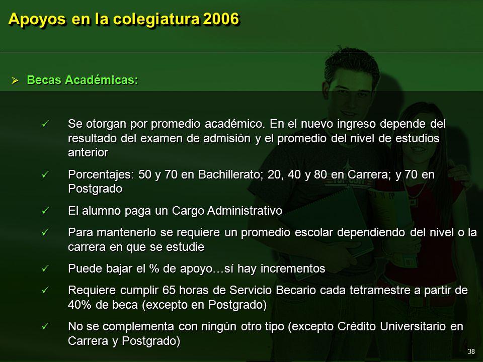 Apoyos en la colegiatura 2006 38  Becas Académicas: Se otorgan por promedio académico.
