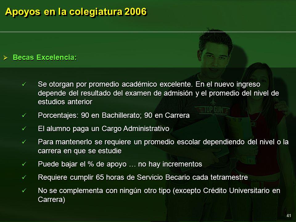 Apoyos en la colegiatura 2006 41  Becas Excelencia: Se otorgan por promedio académico excelente.
