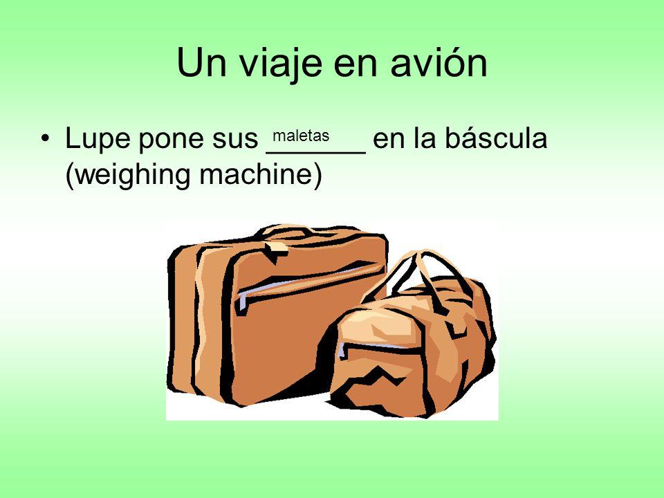Un viaje en avión Lupe pone sus ______ en la báscula (weighing machine) maletas