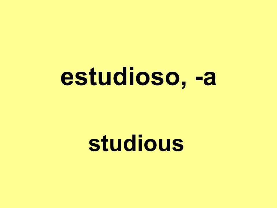 estudioso, -a studious