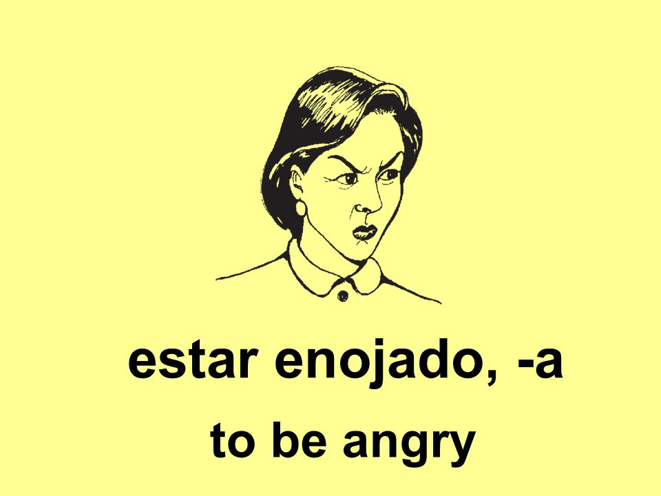 estar enojado, -a to be angry