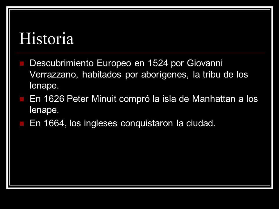 Historia Descubrimiento Europeo en 1524 por Giovanni Verrazzano, habitados por aborígenes, la tribu de los lenape.