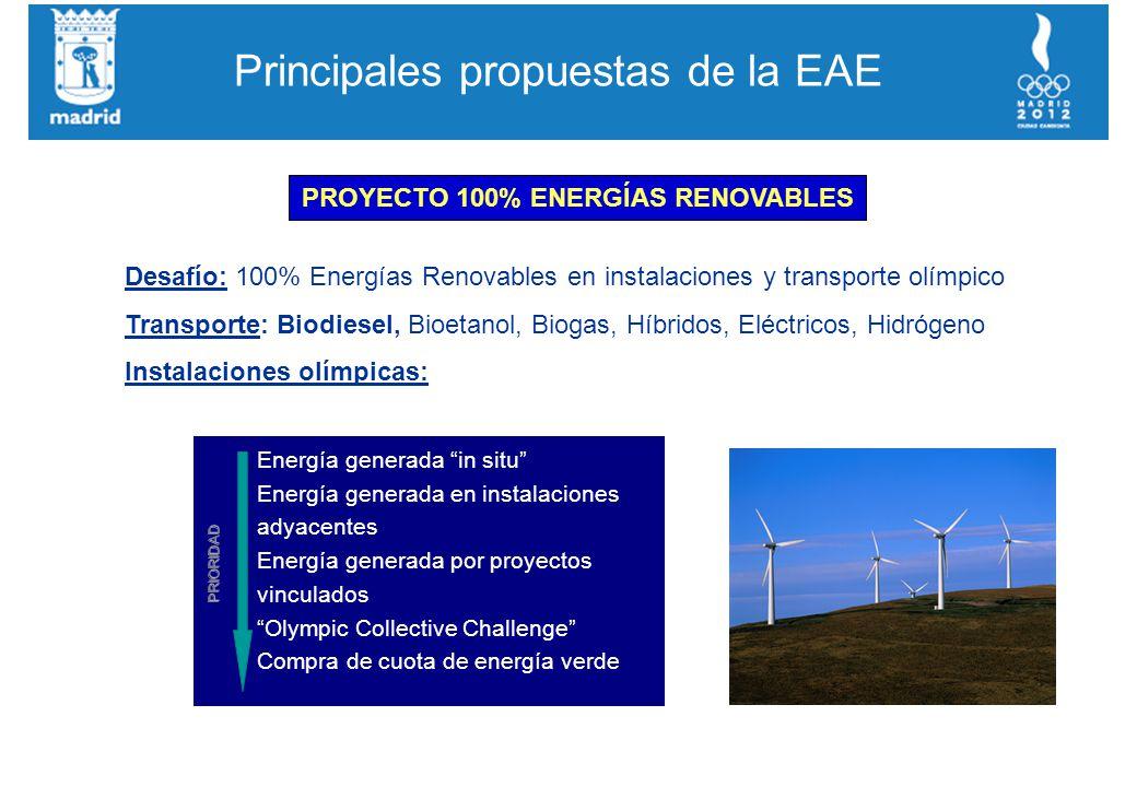 Principales propuestas de la EAE PROYECTO 100% ENERGÍAS RENOVABLES Desafío: 100% Energías Renovables en instalaciones y transporte olímpico Transporte: Biodiesel, Bioetanol, Biogas, Híbridos, Eléctricos, Hidrógeno Instalaciones olímpicas: Energía generada in situ Energía generada en instalaciones adyacentes Energía generada por proyectos vinculados Olympic Collective Challenge Compra de cuota de energía verde PRIORIDAD