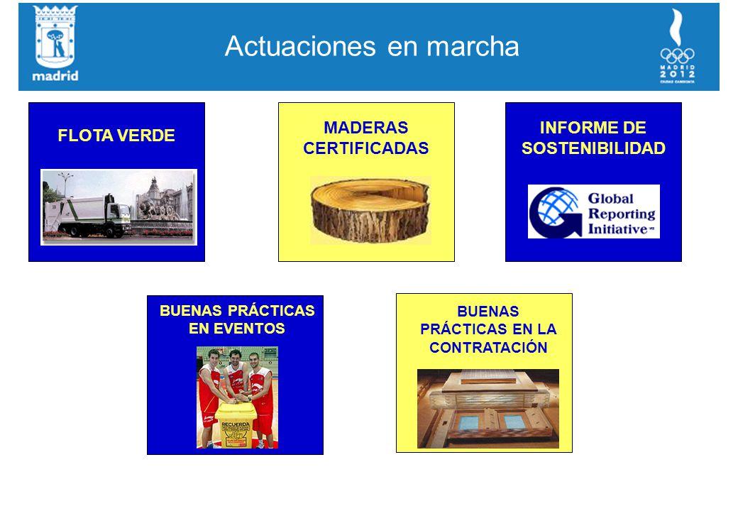 Actuaciones en marcha FLOTA VERDE MADERAS CERTIFICADAS INFORME DE SOSTENIBILIDAD BUENAS PRÁCTICAS EN EVENTOS BUENAS PRÁCTICAS EN LA CONTRATACIÓN
