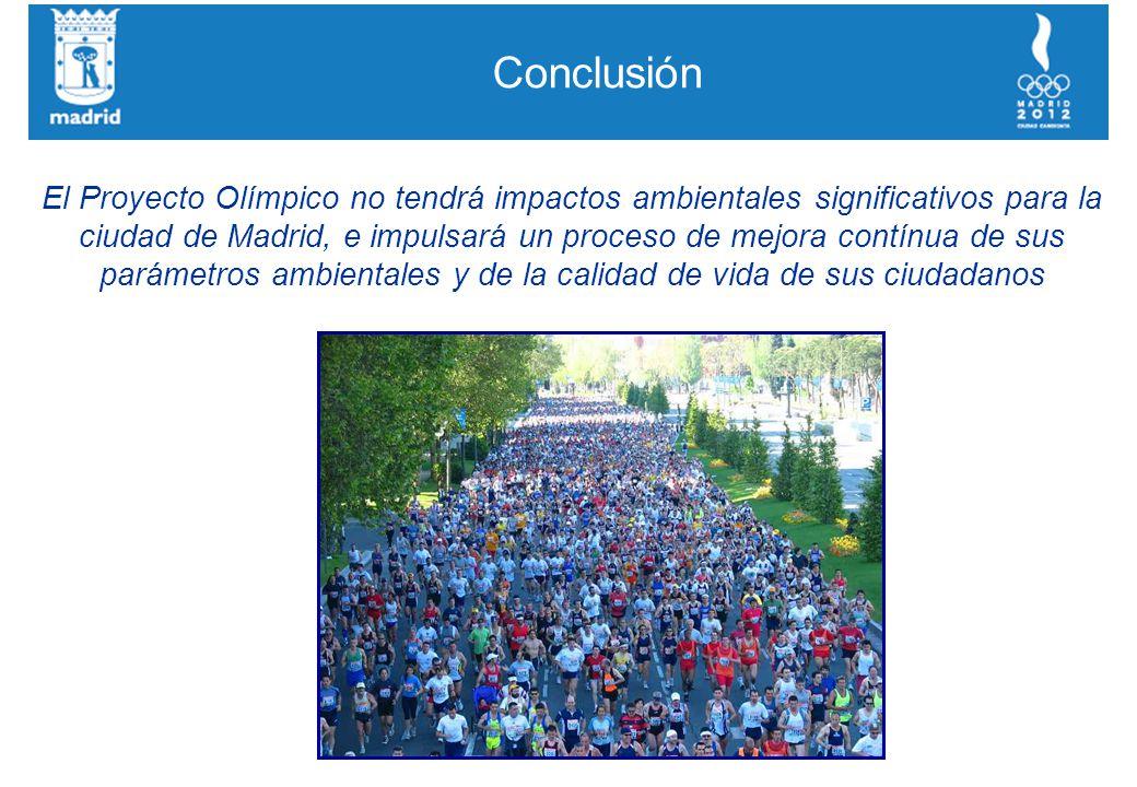 Conclusión El Proyecto Olímpico no tendrá impactos ambientales significativos para la ciudad de Madrid, e impulsará un proceso de mejora contínua de sus parámetros ambientales y de la calidad de vida de sus ciudadanos