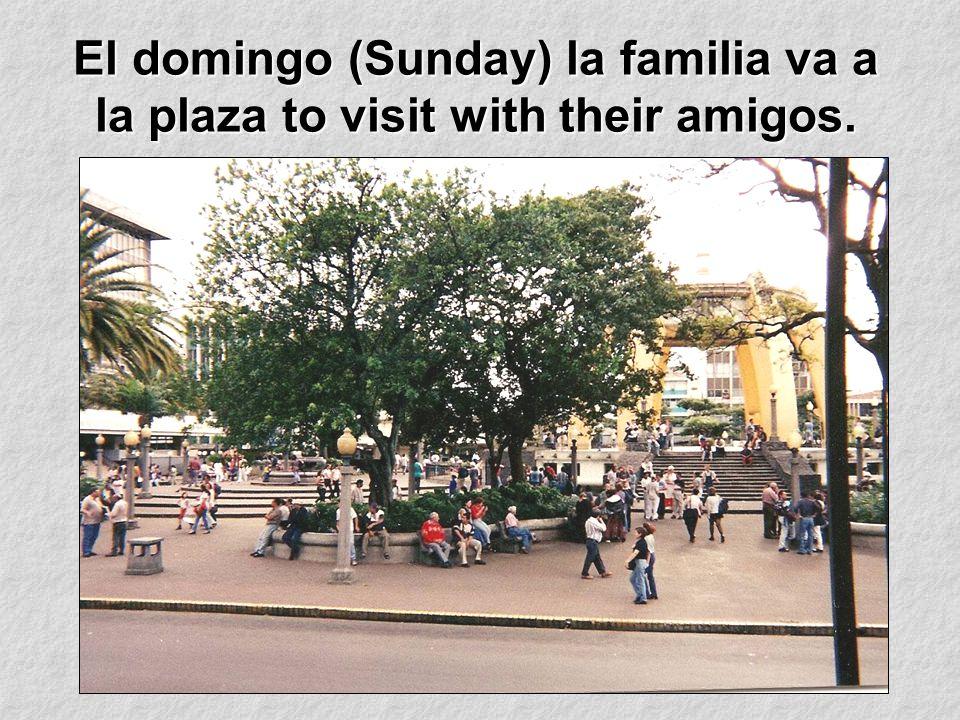 El domingo (Sunday) la familia va a la plaza to visit with their amigos.