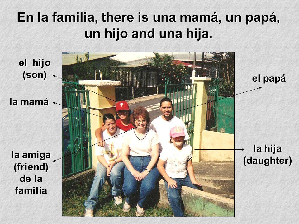 En la familia, there is una mamá, un papá, un hijo and una hija.