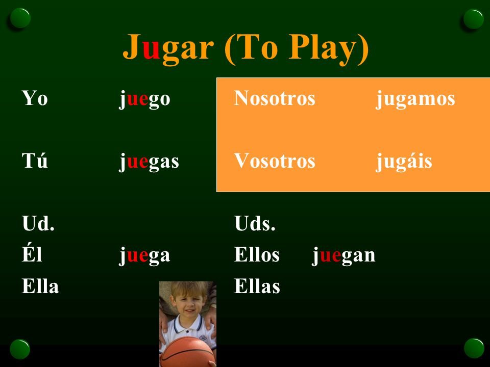 The Verb Jugar o The verb jugar is used to talk about playing a sport or a game.
