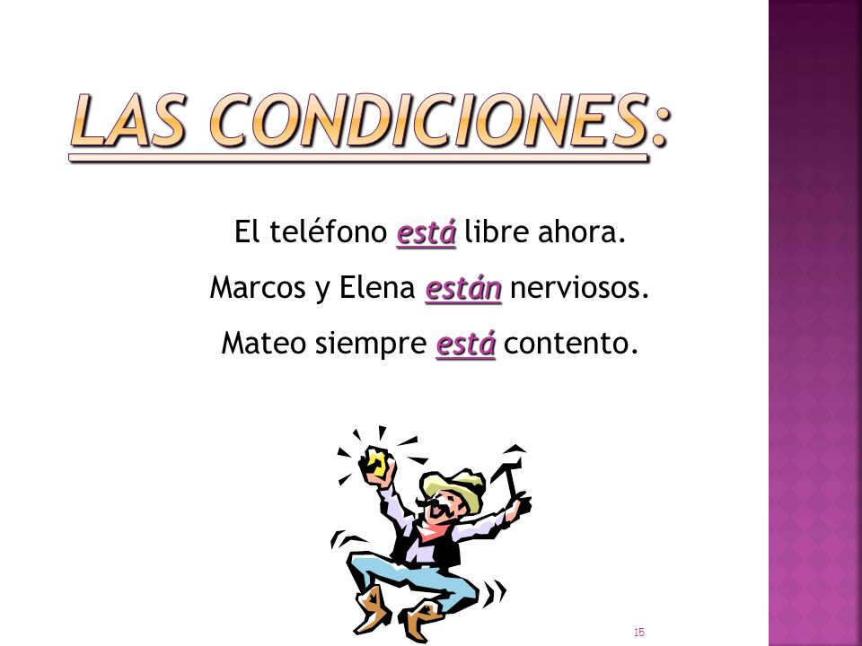 está Madrid está en España. están Mis libros están en mi casa. estáis ¿Dónde estáis vosotros 14
