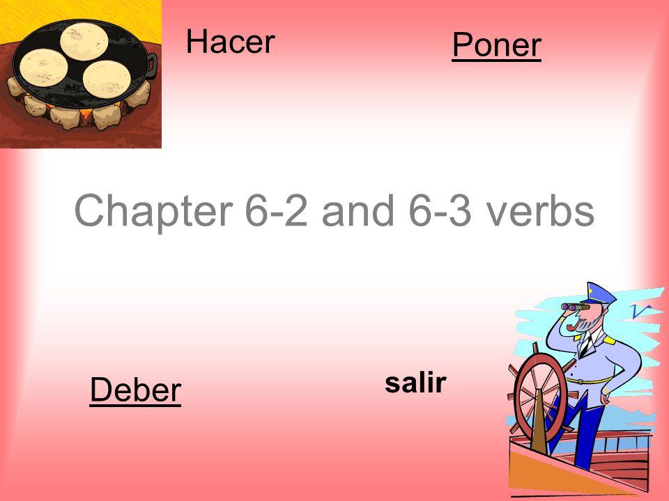 Chapter 6-2 and 6-3 verbs salir Hacer Poner Deber
