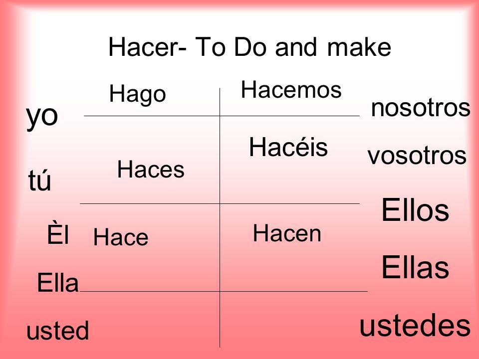 Hacer- To Do and make yo tú Èl Ella usted nosotros vosotros Ellos Ellas ustedes Hago Haces Hace Hacemos Hacéis Hacen