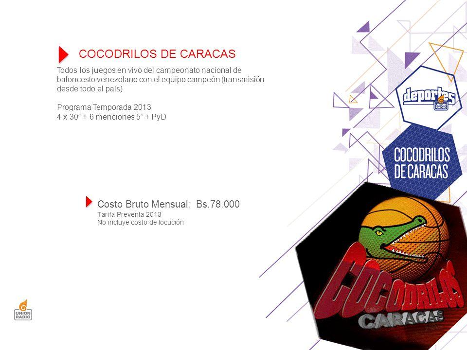 Todos los juegos en vivo del campeonato nacional de baloncesto venezolano con el equipo campeón (transmisión desde todo el país) Programa Temporada 2013 4 x 30 + 6 menciones 5 + PyD COCODRILOS DE CARACAS Costo Bruto Mensual: Bs.78.000 Tarifa Preventa 2013 No incluye costo de locución