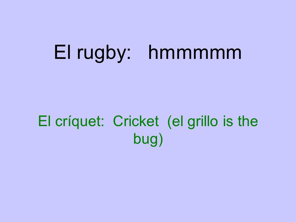 El rugby: hmmmmm El críquet: Cricket (el grillo is the bug)