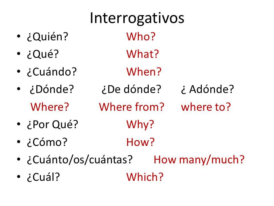 Interrogativos ¿Quién Who. ¿Qué What. ¿Cuándo When.