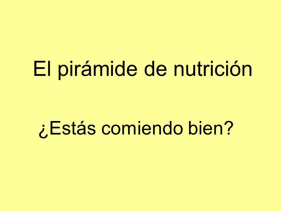 El pirámide de nutrición ¿Estás comiendo bien