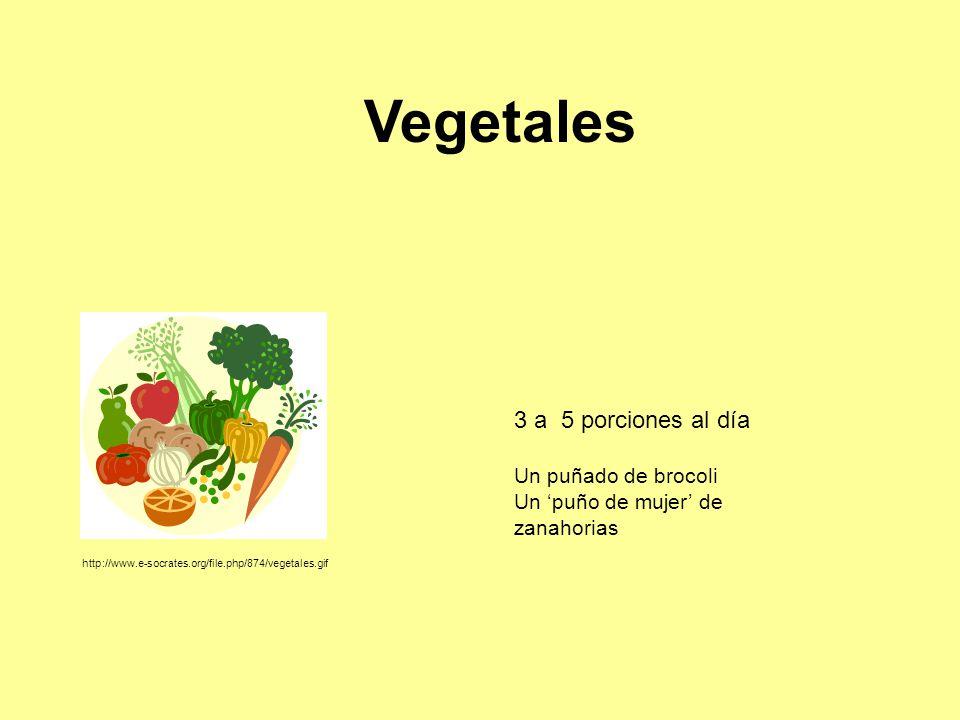 Vegetales 3 a 5 porciones al día Un puñado de brocoli Un 'puño de mujer' de zanahorias http://www.e-socrates.org/file.php/874/vegetales.gif