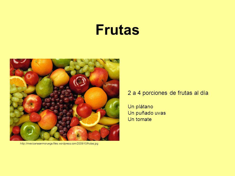 Frutas 2 a 4 porciones de frutas al día Un plátano Un puñado uvas Un tomate http://mexicanasennoruega.files.wordpress.com/2009/10/frutas.jpg