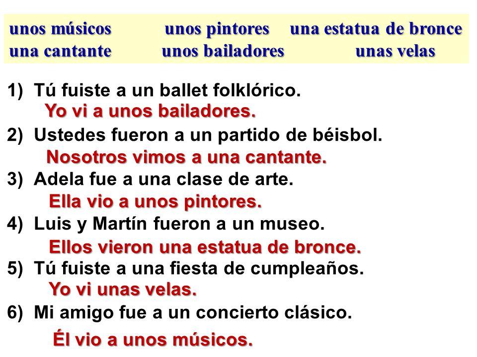 el 30/31 de octubre unos músicos unos pintores una estatua de bronce una cantante unos bailadores unas velas What did these people see at the following places.