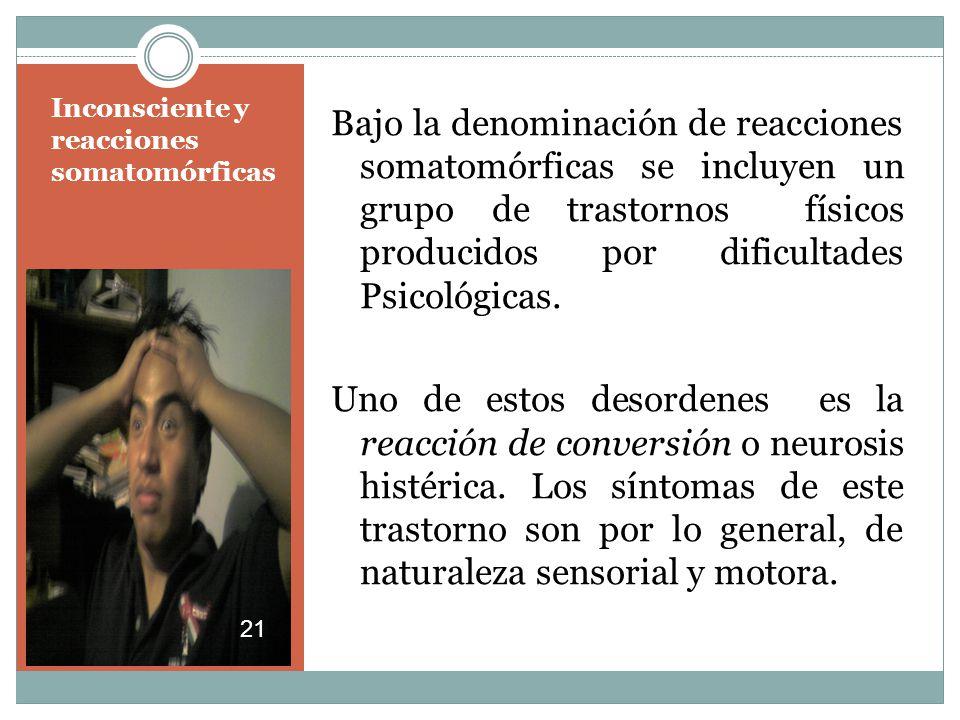 Inconsciente y reacciones somatomórficas Bajo la denominación de reacciones somatomórficas se incluyen un grupo de trastornos físicos producidos por dificultades Psicológicas.