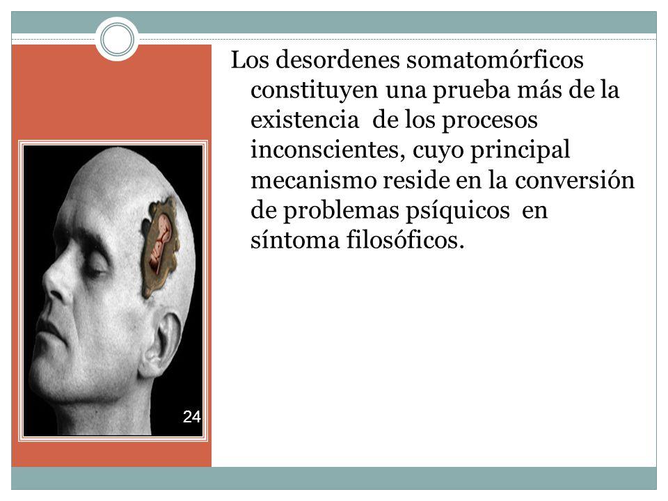 Los desordenes somatomórficos constituyen una prueba más de la existencia de los procesos inconscientes, cuyo principal mecanismo reside en la conversión de problemas psíquicos en síntoma filosóficos.